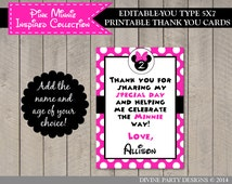 INSTANT DOWNLOAD Editable Hot Pink Mouse 5x7 Thank You Card / You Type Name / Hot Pink Mouse Collection / Item #1730