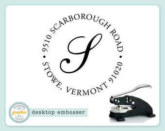 Embosser - STOWE Style - Desk Model - Personalized Initial Monogram Return Address - Embossing Stamp Seal - Wedding Housewarming Gift