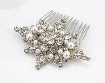 KACIE - Art Deco Crystal Rhinestone And Pearl Bridal Hair Comb, Bridal Hair Accessories, Rhinestones Wedding Hair Comb, Crystal Headpiece