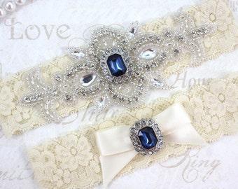 Best Seller - MADRID - Sapphire Blue Wedding Garter Set, Wedding Lace Garter, Rhinestone Bridal Garters, Something Blue