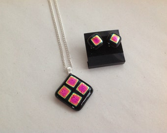 Dichroic Glass Pendant and Stud Earrings.