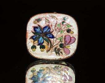 Lovely Mid Century Enamel Flower Brooch