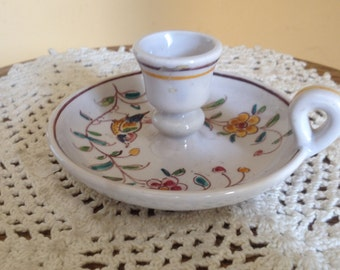 Charming Vintage Outeiro Agueda Hand Painted Candle Holder Portugal