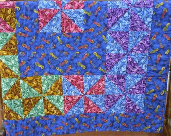Patchwork Baby Quilt With Seahorses 38x45... Traditional Quilt In Pinwheel Ocean Theme Pattern