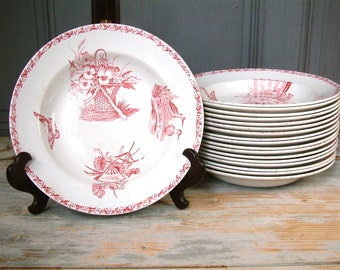 One French antique ironstone dark rose red transferware soup plates. Antique ironstone. French transferware. BADONVILLER model ECRAN