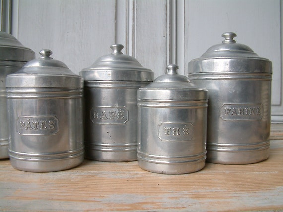 kitchen canisters french vintage kitchen canister set in aluminum set of 6 12965