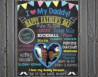 Father's Day Photo Chalkboard Father's Day Gift Daddy and Me Grandpa Picture Fathers Day