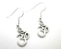 Silver Om yoga zen charm earrings with 925 sterling silver ear wires, yoga jewelry,
