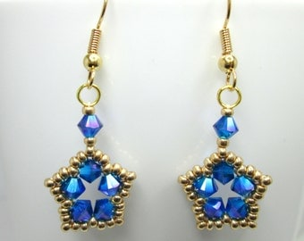 Blue and gold star earrings, capri blue swarovski AB 2X, crystal star, swarovski star earrings, blue earrings,