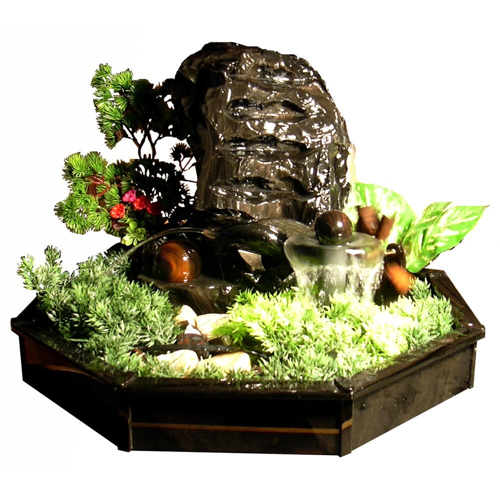 Table Top Water Fountain Handmade From Obsidian Interior