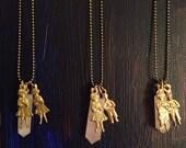 Love maker necklace: rose Quartz and Milagros