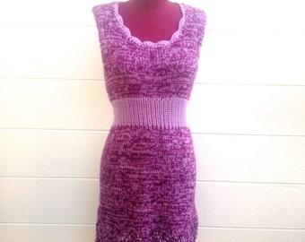 1970's Handmade Crocheted Purple Lavender Knit Dress