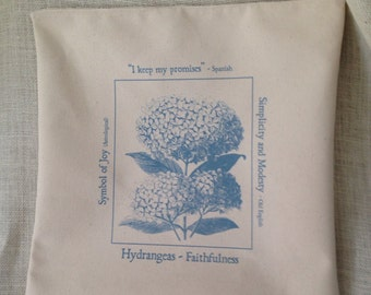 Botanical Print Pillow Cover in Hydrangea 14 x 14