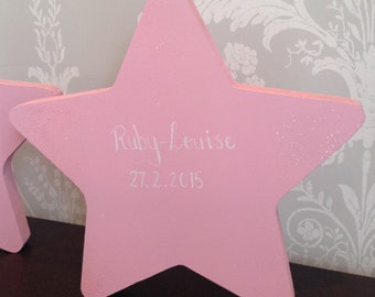 Freestanding star personalised baby sign
