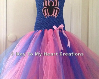 Spidergirl spiderman inspired PINK BLUE tutu costume set with mask, spiderman...lined top