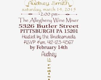 Wine Theme Bridal Shower Invitation Printable File