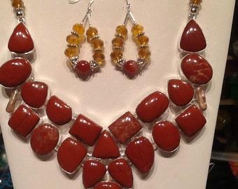 earthy red Jasper and Biwa Pearl Bibb