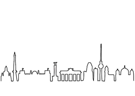 hnliche artikel wie postkarte mit berliner skyline wei oder schwarz auf etsy. Black Bedroom Furniture Sets. Home Design Ideas