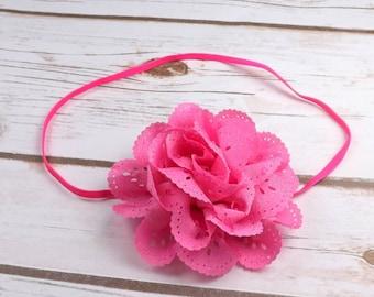 Girls pink flower headband - pink chiffon flower attached to a pink skinny headband, toddler headband
