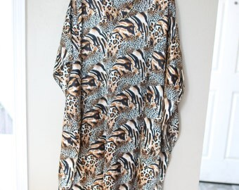 vintage leopard animal print oriental tunic caftan dress