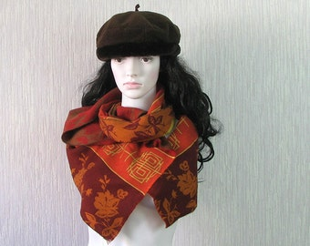 Orange  Scarf Vintage  Gift for her Winter Accessories Women Fashion