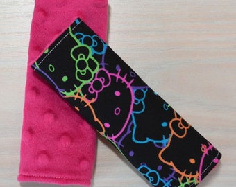 Car Seat Strap Covers - Hello Kitty, Neon