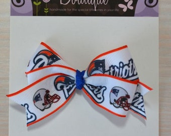 Boutique Style Hair Bow - New England Patriots