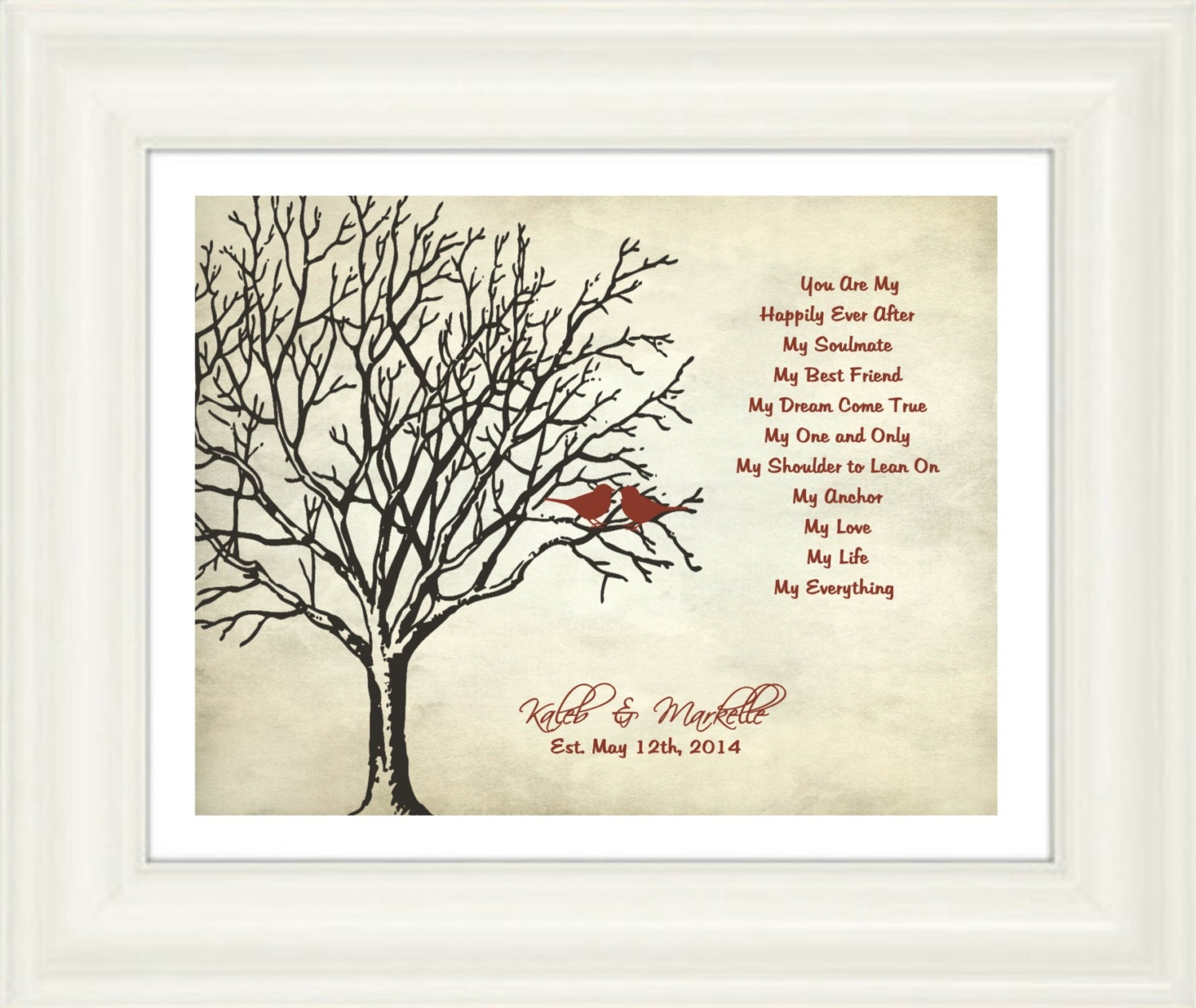 5 Best Wedding Gifts Ever : Custom Wedding Print-Anniversary Gift You are... My happily