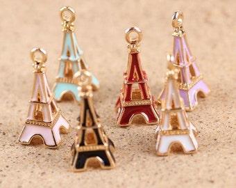 10 pcs of antique gold  Eiffel Tower multicolour drop oil charm pendants 24x10mm