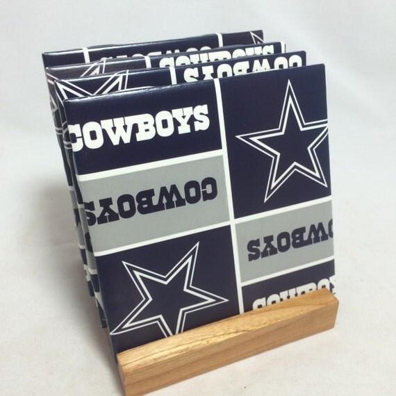 Handmade dallas cowboys drink coasters set of for Handmade drink coasters