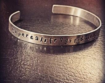Supercalifragilisticexpialidocious jewelry Cuff Bracelet Hand stamped jewelry Disney Jewelry Disney Characters Mary Poppins silver