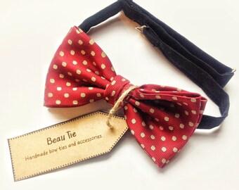 mens bow tie vintage silk, silk bow tie, mens vintage bow tie, red bow tie, polka dot bow tie