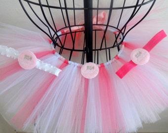 Girls Valentine tutu Girls pink Valentine tutu, Baby Valentine tutu and headband, 3/6, 6/12, 12/18 ready to ship Pink tutu set, Infant tutu