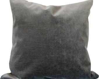 Gray Velvet Decorative Pillow Cover-Designer Pillow Cover-Accent Pillow-Sofa Pillow-Toss Pillow-Throw Pillow-Double Sided