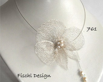 Noble wedding bridal necklace Orchid blossom filigree wire pearls ivory white 761