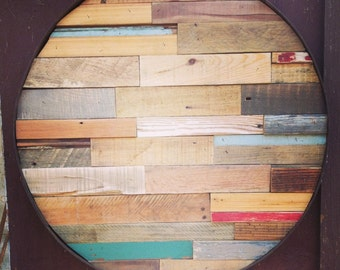 Reclaimed Wood Mosaic with Iron Band