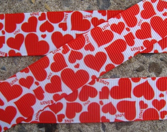 """7/8"""" Valentine Red Hearts Grosgrain Ribbon Happy Valentine's ribbon Wrapping ribbon Hair bow supplies"""