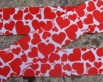 "7/8"" Red Valentine Ribbon Red hearts ribbon Chevron ribbon Printed Ribbon Hair bow ribbon hair bow supplies"