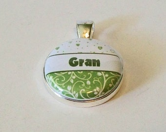 Light Green and White Floral Gran Grandmother Round Silver Pendant