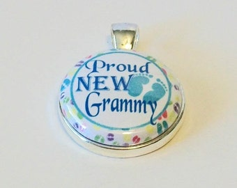 Blue and White Proud New Grammy Grandmother Round Silver Pendant
