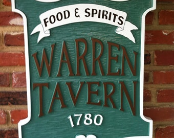 Vintage look Personalized Tavern Sign with Established year - Custom Carved Signs