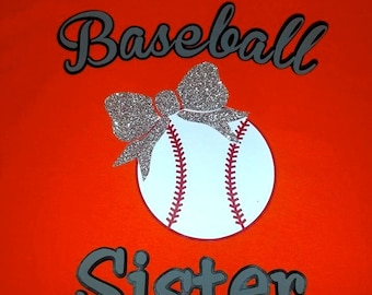 Baseball Sister with Glittery Bow