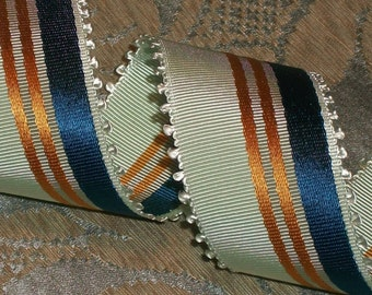 Vintage French Striped Moire Picot Ribbon Trim -100% Rayon - Mint Green/ Metallic Copper/ Blue  Millinery Quality  - 1.5 inch wide - 1 Yard