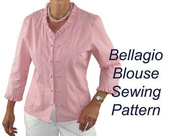 Bellagio Blouse Sewing Pattern, Raglan Sleeve Pattern, BSS151