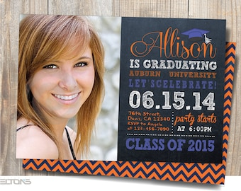 Graduation Invitation, Graduation Announcement, Chalkboard Double-Sided, Custom College Color and Sign, DIY