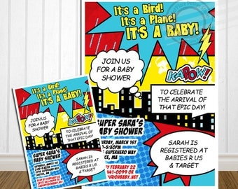 PRINTABLE Superhero Baby Shower Invitation Comic Baby Shower Announcement Super hero Baby Shower Superhero invitation Super hero invitation