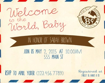 Welcome to the World Baby Shower Invitation