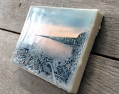 Cove. Original encaustic photography. Driftwood shoreline at dawn. Small wall art. Lake Superior Minnesota. Sunset.
