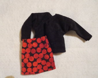 Handmade Barbie clothes - Mini-skirt and sweater