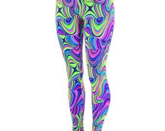 Neon UV Glow Worm Print Smooth High Waist Lycra Spandex  Leggings Neon Run 150580